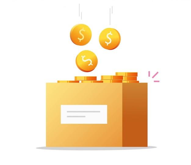 Vetor de caixa de dinheiro como doação de caridade ou economia cheia de moedas em dinheiro Vetor Premium