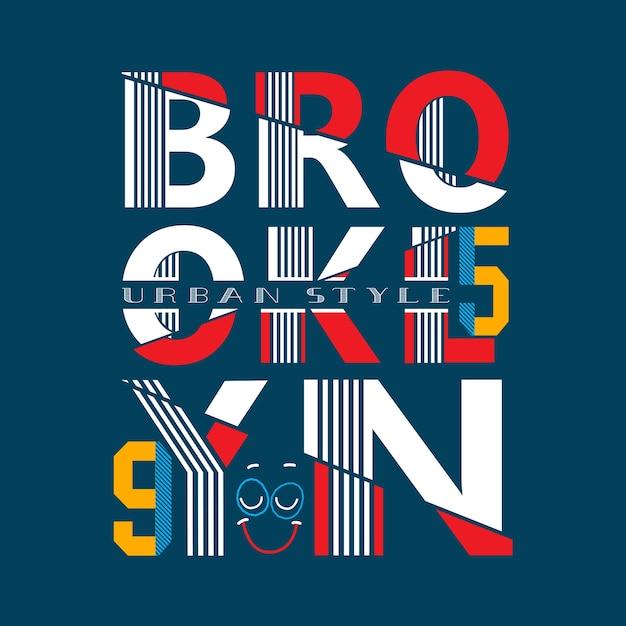 Vetor de camisa de t typograpy brooklyn Vetor Premium