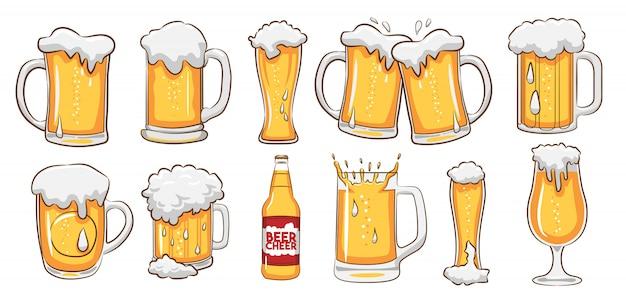 Vetor de caneca de cerveja definir clipart Vetor Premium