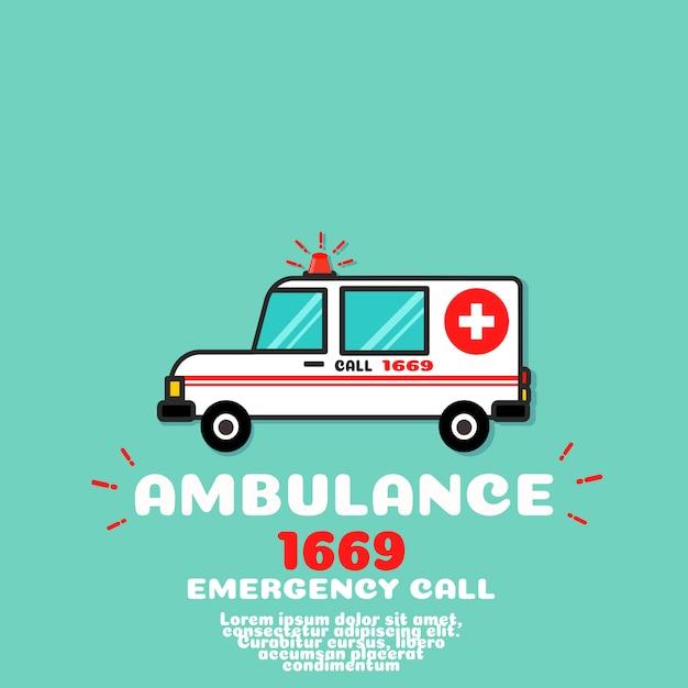 Vetor de carro de ambulância Vetor Premium