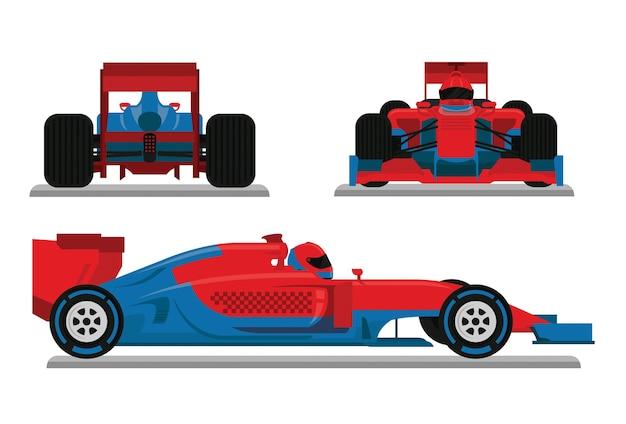 Vetor de carro de corrida azul vermelho Vetor Premium
