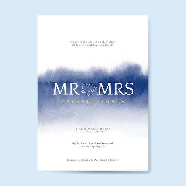 Vetor de cartão de convite de casamento azul Vetor grátis