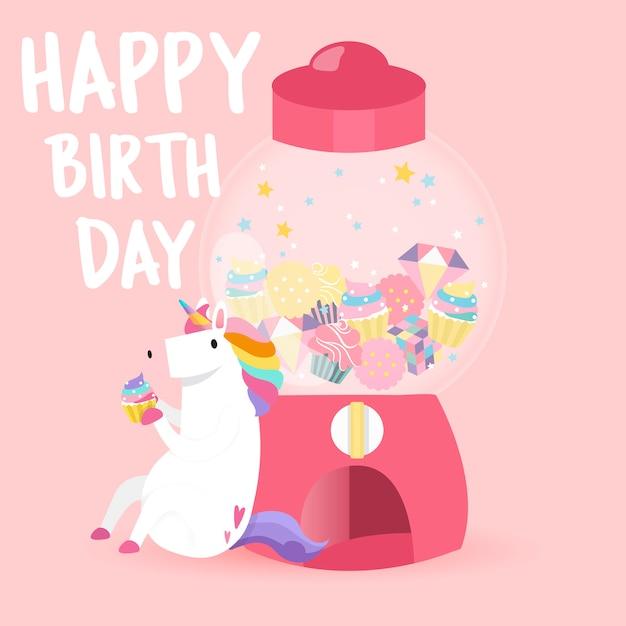 Vetor de cartão de feliz aniversário unicórnio fofo Vetor grátis