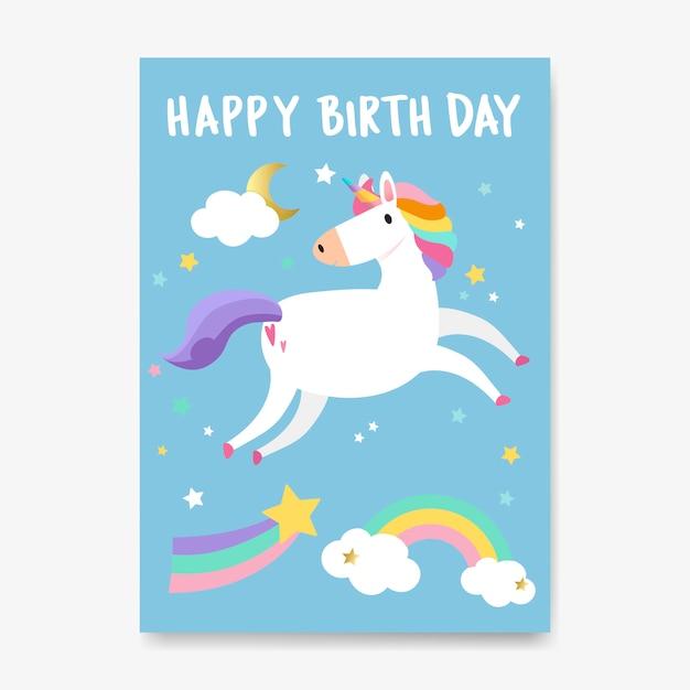 Vetor de cartão de unicórnio de feliz aniversário Vetor grátis
