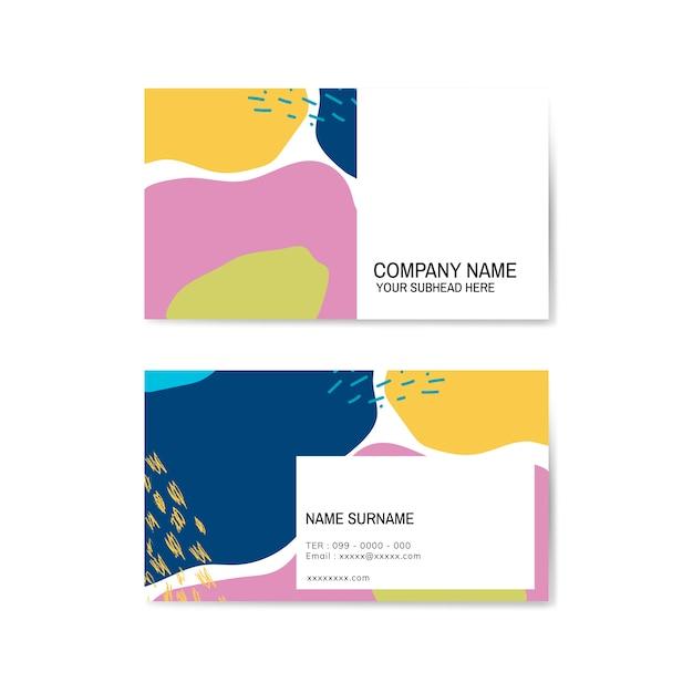 Vetor de cartão de visita colorido padrão memphis Vetor grátis