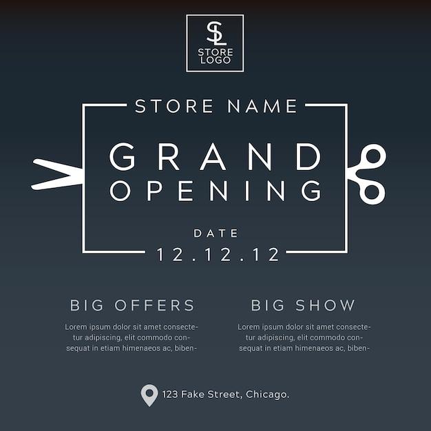 Vetor de cartaz minimalista de inauguração Vetor Premium
