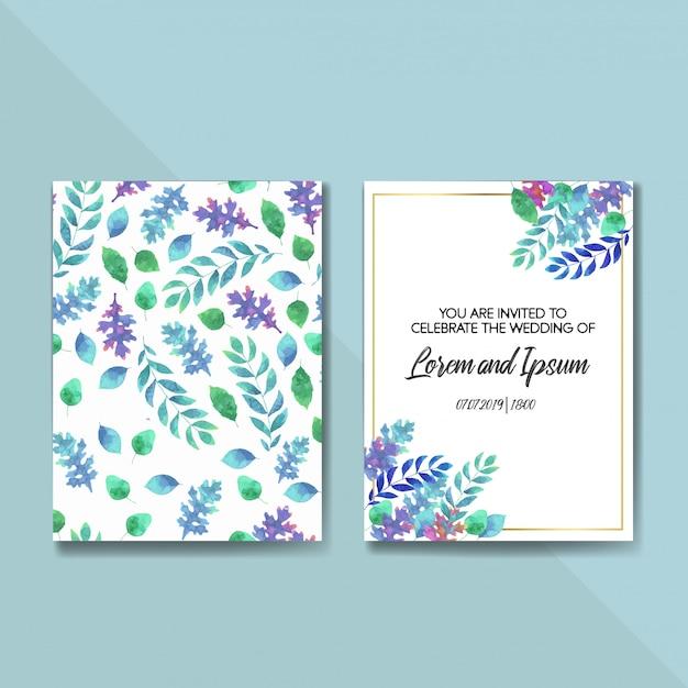 Vetor de casamento floral convidar modelo de cartão de convite Vetor Premium