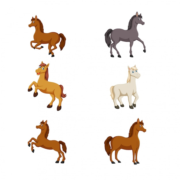 Vetor de cavalo bonito dos desenhos animados Vetor Premium