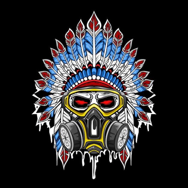 Vetor de caveira indiana usando uma máscara Vetor Premium