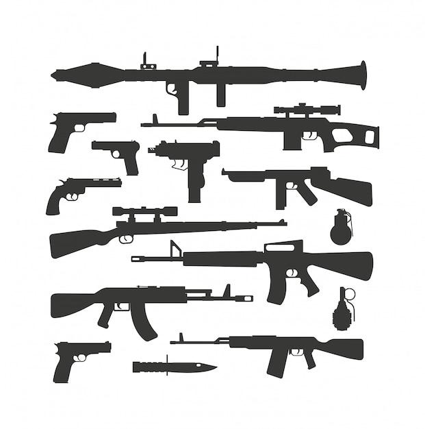 Vetor de coleção de armas. Vetor Premium
