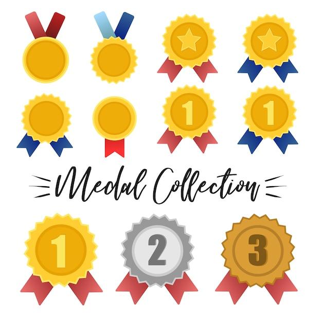 Vetor de coleção medalha de ouro, prata e bronze Vetor Premium