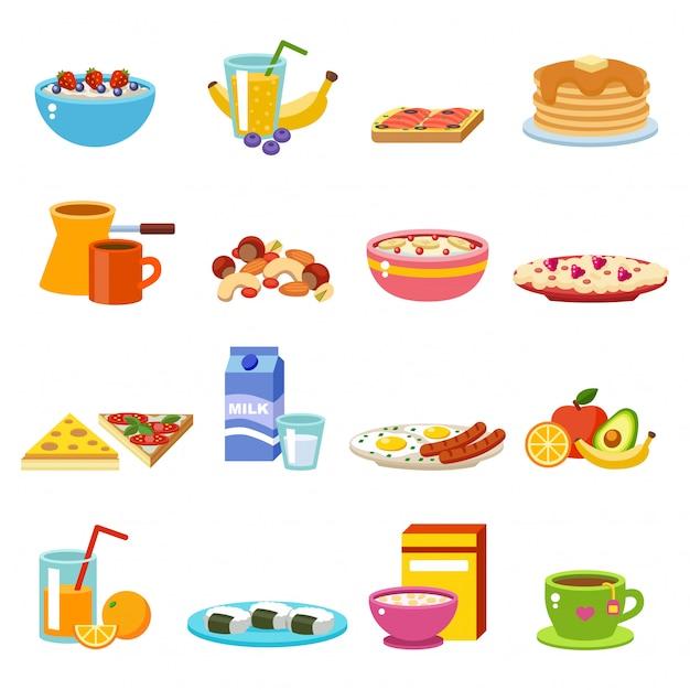 Vetor de comida saudável café da manhã. Vetor Premium