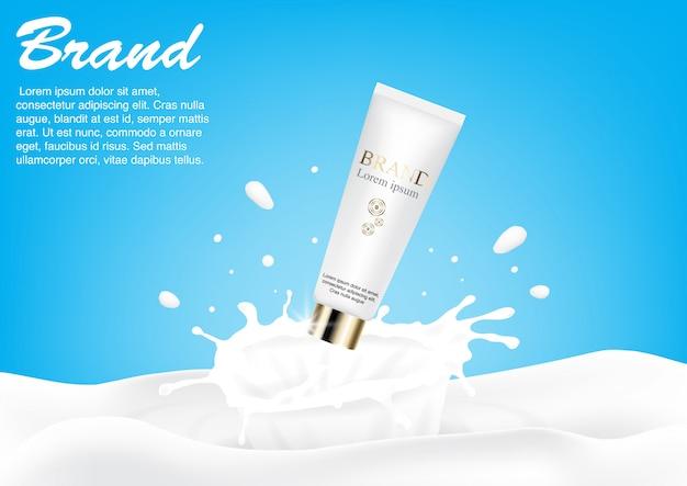 Vetor de conceito de respingo de leite de ad cosmético Vetor Premium