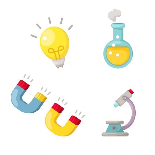 Vetor de conjunto de ciência Vetor Premium