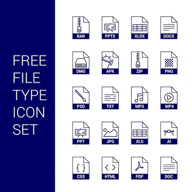 Vetor de conjunto de ícones de tipo de arquivo Vetor Premium