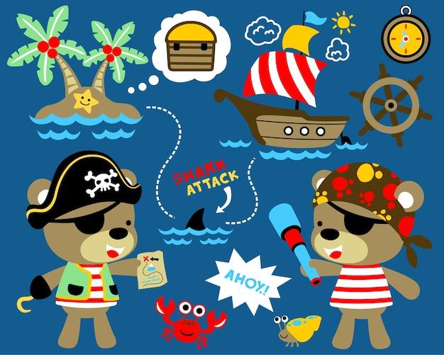 Vetor de conjunto de tema de pirata com desenhos animados engraçados marinheiros Vetor Premium