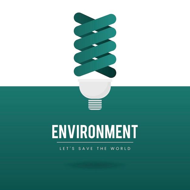 Vetor de conservação ambiental de lâmpada Vetor grátis