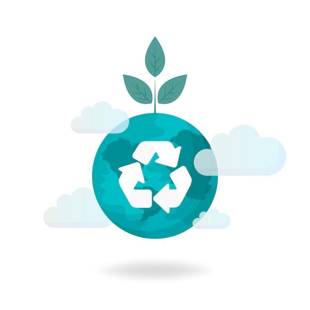 Vetor de conservação ambiental de símbolo de reciclagem Vetor grátis