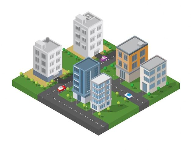 Vetor de construção isométrica Vetor Premium