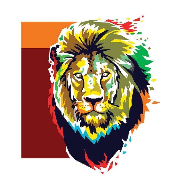 Vetor de cor de cabeça de leão Vetor Premium