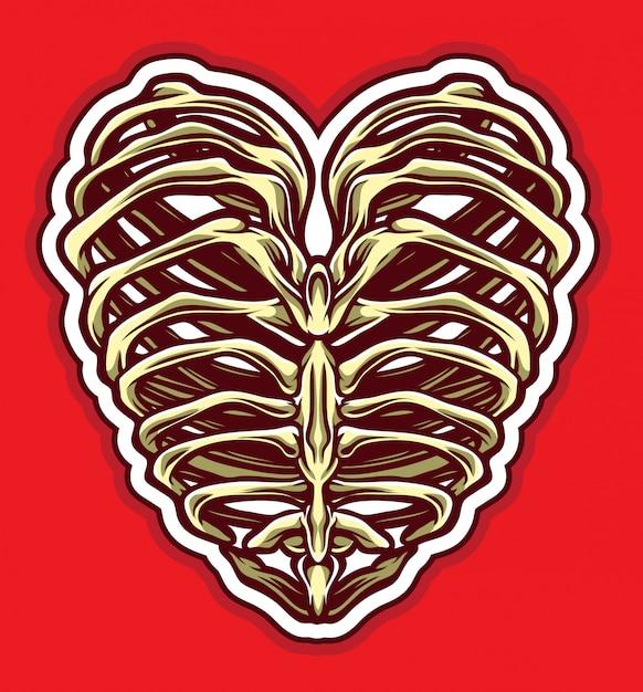Vetor de coração de osso Vetor Premium