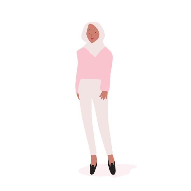 Vetor de corpo inteiro de mulher muçulmana forte Vetor grátis