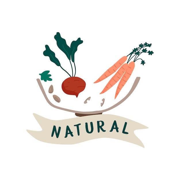 Vetor de crachá de alimentos frescos naturais Vetor grátis