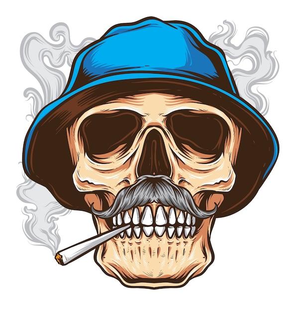 Vetor de crânio de bigode Vetor Premium