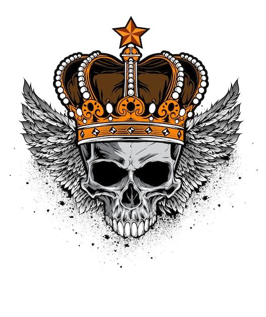 Vetor de crânio de rei Vetor Premium