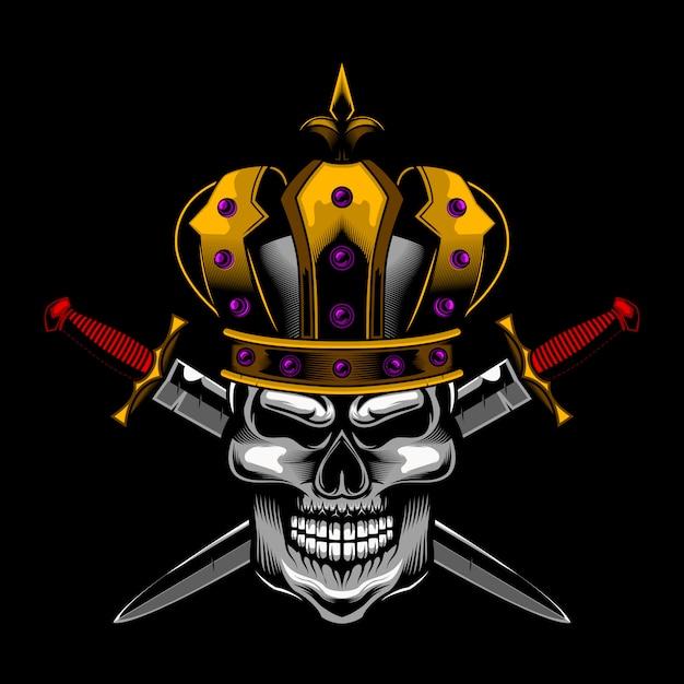 Vetor de crânio rei espada Vetor Premium