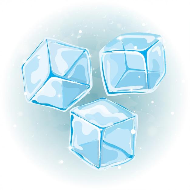 Vetor de cubos de gelo em fundo aquarela. Vetor Premium