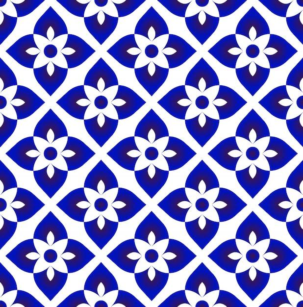 Vetor de decoração de arte cerâmica azul e branco simples Vetor Premium