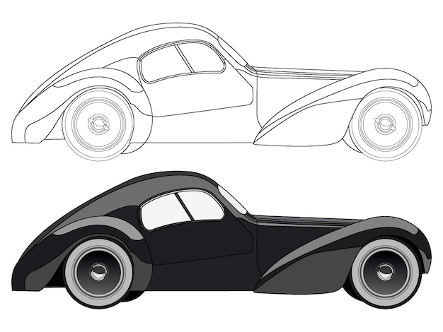 vetor de desenho animado de carro clássico com opção de curso preto
