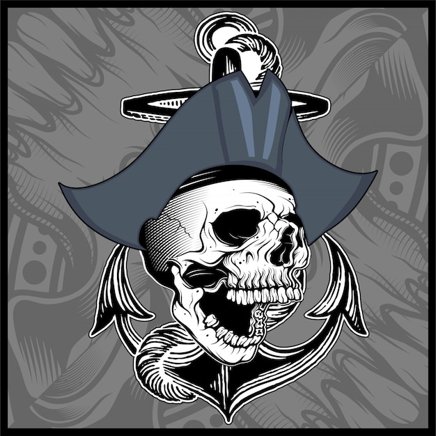 Vetor de desenho de mão de pirata caveira Vetor Premium