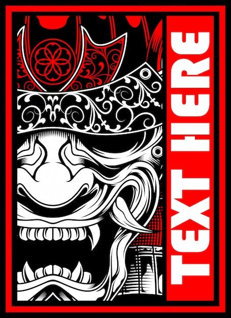 Vetor de desenho de mão samurai Vetor Premium