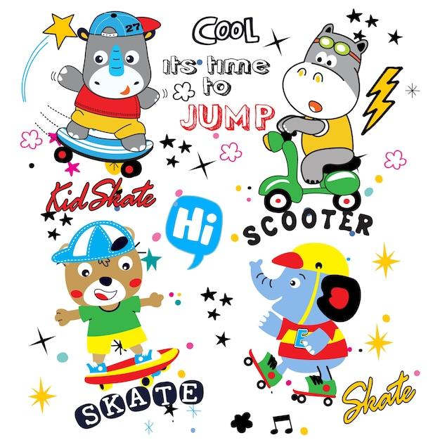 Vetor de desenhos animados animais para camiseta e outro uso Vetor Premium