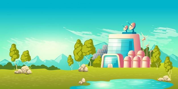 Vetor de desenhos animados de construção de estação de energia ecológica Vetor grátis