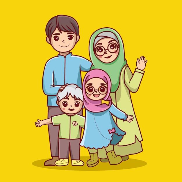 Vetor de desenhos animados de família islâmica Vetor Premium