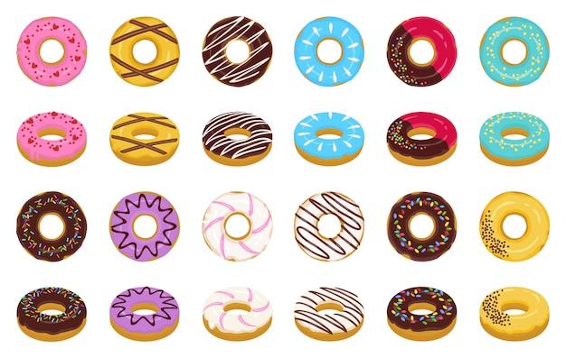 Vetor de desenhos animados de rosquinha doce definir ícone. ícone isolado doughnut de chocolate e creme. rosquinha de ilustração vetorial de sobremesa polvilha. Vetor Premium