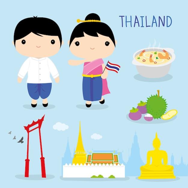 Vetor de desenhos animados de tradição tailândia ásia mascote menino menina Vetor Premium