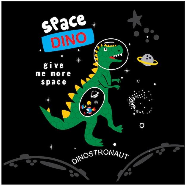 Vetor de desenhos animados do espaço dino Vetor Premium