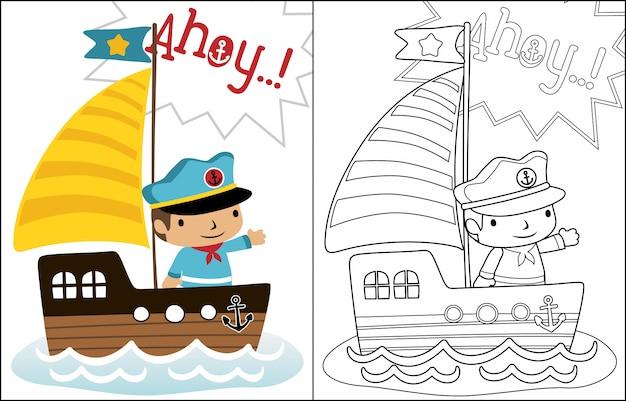 Vetor de desenhos animados do pequeno skipper em veleiro Vetor Premium