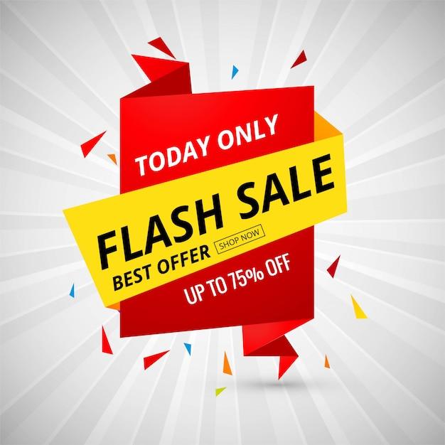 Vetor de design colorido de banner criativo de venda flash Vetor Premium