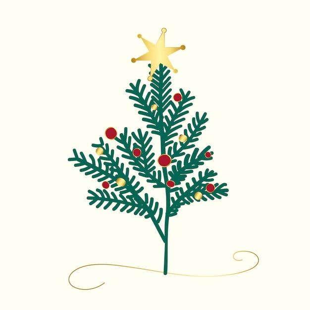 Vetor de design de árvore de natal decorada Vetor grátis