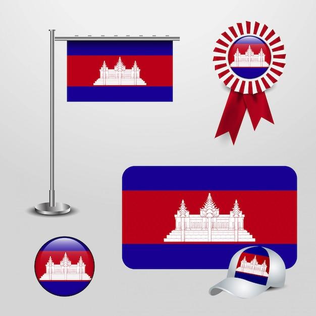 Vetor de design de bandeira do camboja Vetor Premium