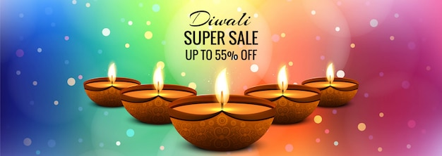 Vetor de design de banner colorido super venda diwali Vetor grátis