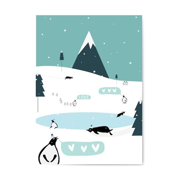 Vetor de design de cartão postal com tema de inverno Vetor grátis