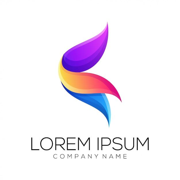 Vetor de design de logotipo abstrato de flor Vetor Premium