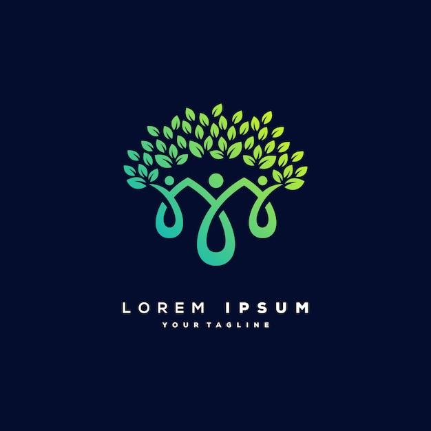 Vetor de design de logotipo de árvore humana Vetor Premium
