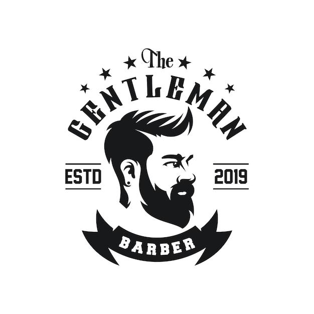 Vetor de design de logotipo de barbearia incrível Vetor Premium